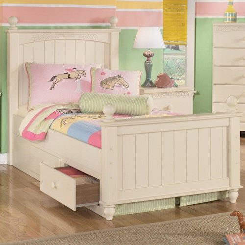 Signature Design by Ashley Furniture Cottage Retreat Twin Poster Bed with Underbed Storage