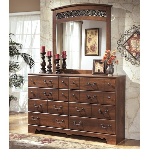 Signature Design by Ashley Pine Ridge 8 Drawer Dresser and Arched Mirror Set