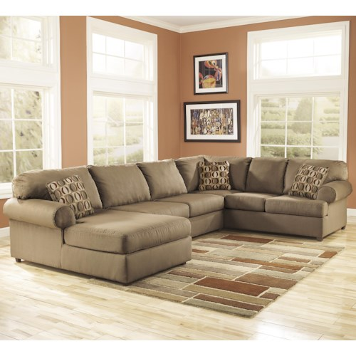 Signature Design by Ashley Cowan - Mocha Roll Arm Left Facing Corner Chaise Sectional