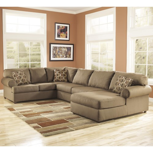 Signature Design by Ashley Cowan - Mocha Roll Arm Right Facing Corner Chaise Sectional