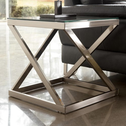 Signature Design by Ashley Coylin Brushed Metal Square End Table with Clear Tempered Glass Top