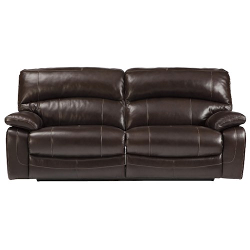 Signature Design by Ashley Damacio - Dark Brown Leather Match 2 Seat Reclining Power Sofa
