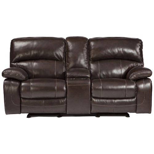 Signature Design by Ashley Damacio - Dark Brown Leather Match Glider Recliner Power Loveseat w/ Console