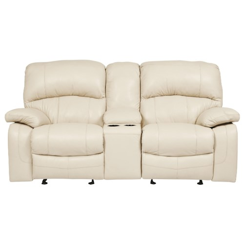 Signature Design by Ashley Damacio - Cream Leather Match Glider Recliner Loveseat w/ Console