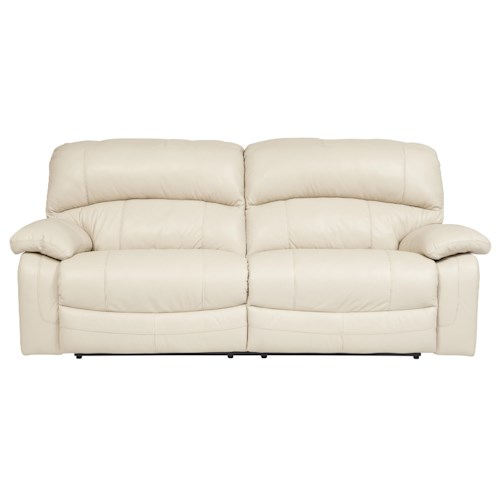 Signature Design by Ashley Damacio - Cream Leather Match 2 Seat Reclining Power Sofa
