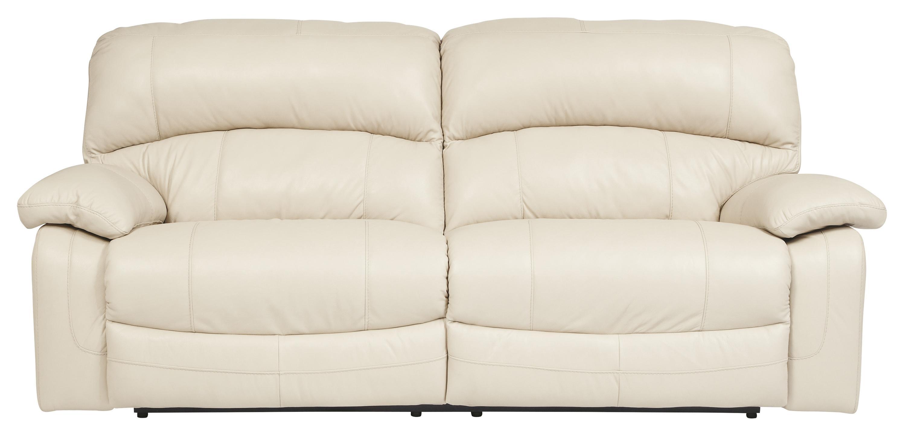 Signature Design By Ashley Damacio   Cream Leather Match 2 Seat Reclining  Power Sofa