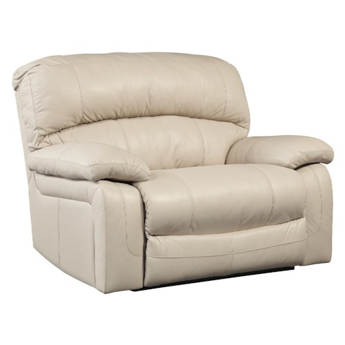 Signature Design by Ashley Damacio - Cream Leather Match Zero Wall Wide Seat Recliner