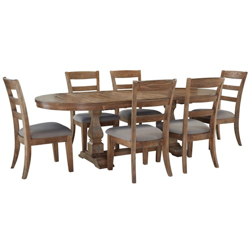 Signature Design by Ashley Danimore 7 Piece Dining Set with Oval Table and Self-Storing Butterfly Leaf