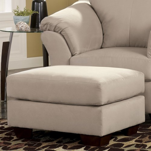 Signature Design by Ashley Darcy - Stone Contemporary Ottoman with Tapered Legs