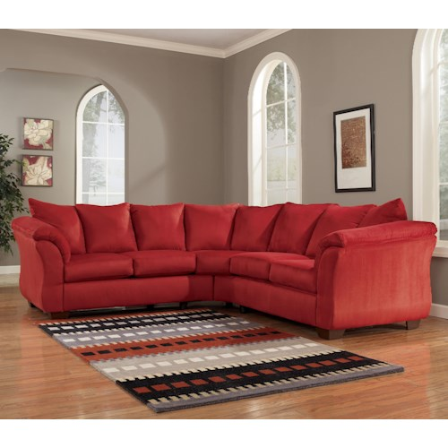 Signature Design by Ashley Darcy - Salsa Contemporary Sectional Sofa with Sweeping Pillow Arms