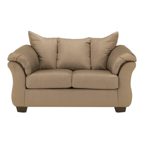 Signature Design by Ashley Darcy - Mocha Contemporary Stationary Loveseat with Flared Back Pillows
