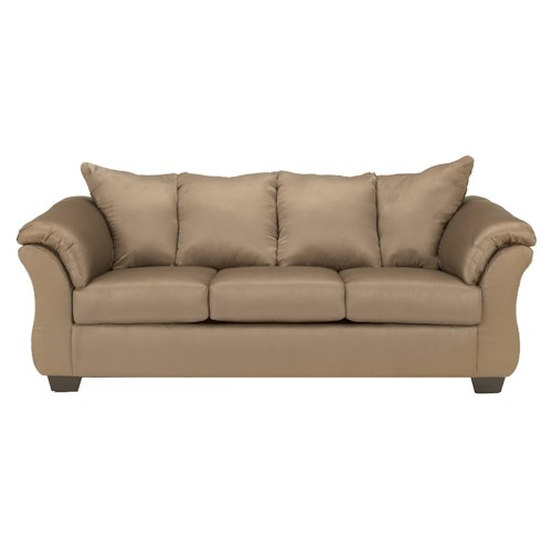 Signature Design by Ashley Darcy - Mocha Contemporary Stationary Sofa with Flared Back Pillows