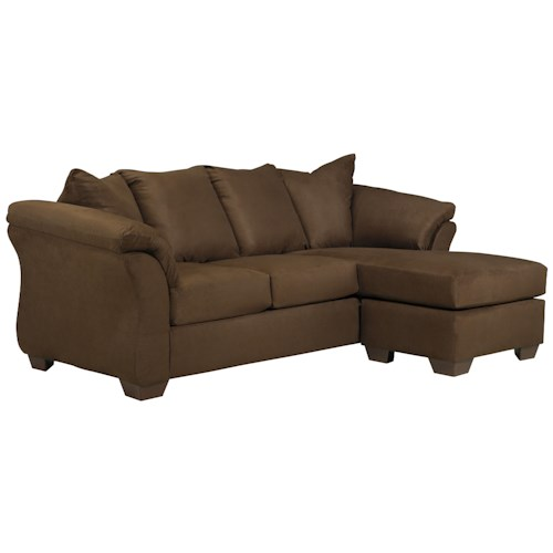 Signature Design by Ashley Darcy - Cafe Contemporary Sofa Chaise with Flared Back Pillows