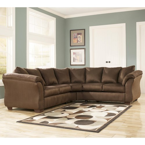 Signature Design by Ashley Darcy - Cafe Contemporary Sectional Sofa with Sweeping Pillow Arms