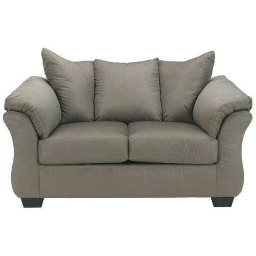 Signature Design by Ashley Darcy - Cobblestone Contemporary Stationary Loveseat with Flared Back Pillows