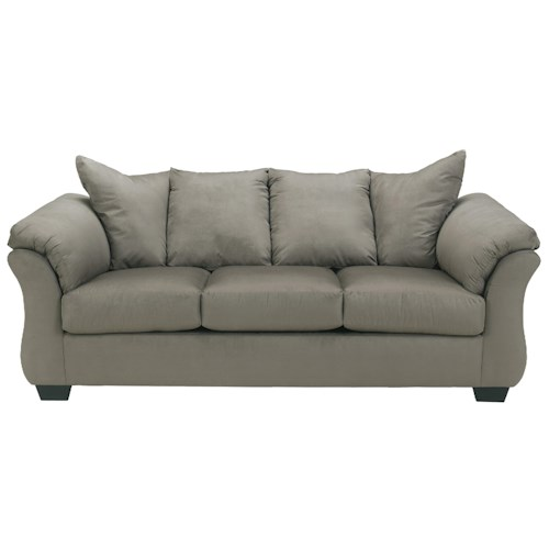 Signature Design by Ashley Darcy - Cobblestone Contemporary Stationary Sofa with Flared Back Pillows