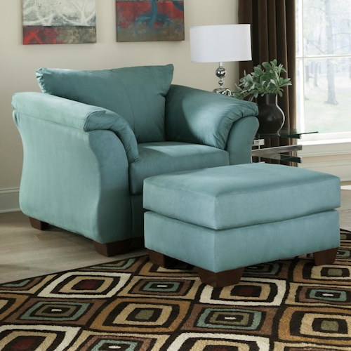 Signature Design by Ashley Darcy - Sky Contemporary Upholstered Chair and Ottoman with Tapered Legs