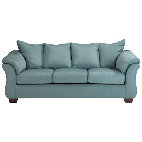 Signature Design by Ashley Vista - Sky Contemporary Stationary Sofa with Flared Back Pillows