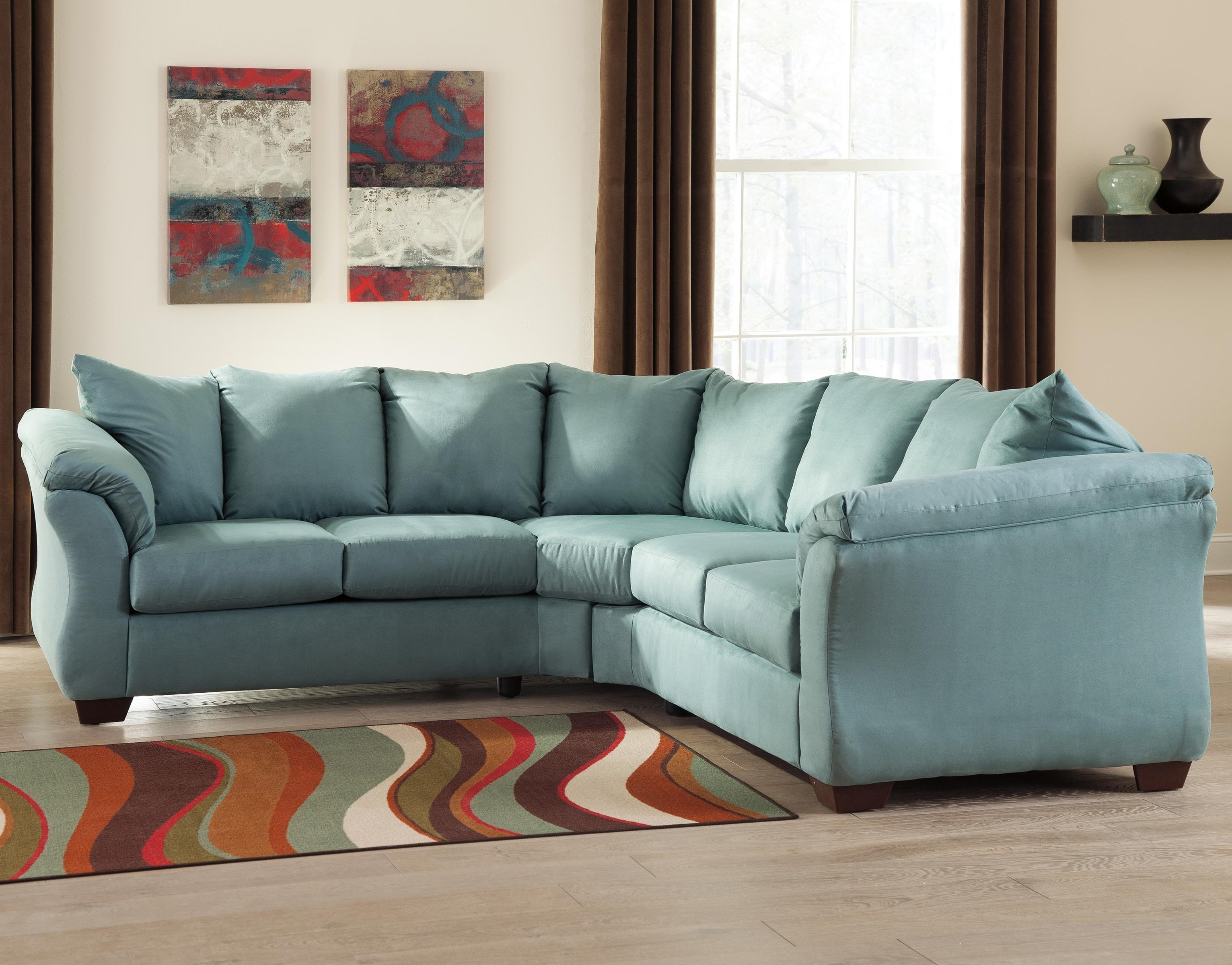 Signature Design By Ashley Darcy   Sky Contemporary Sectional Sofa With  Sweeping Pillow Arms