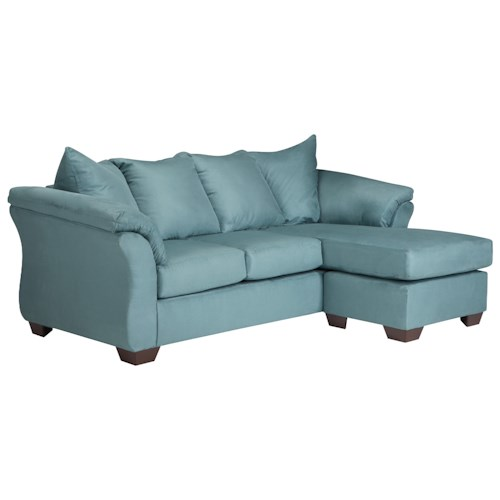 Signature Design by Ashley Darcy - Sky Contemporary Full Sofa Chaise Sleeper with Flared Back Pillows