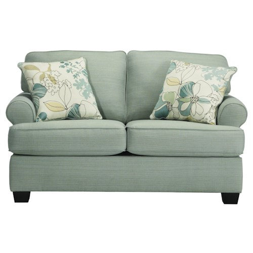 Signature Design by Ashley Daystar - Seafoam Contemporary Loveseat with Rolled Arms & Reversible Seat Cushions