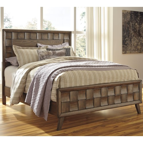Signature Design by Ashley Debeaux Queen Wood Panel Bed with White Oak Veneers