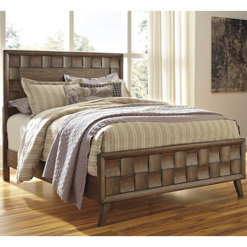 Signature Design by Ashley Debeaux California King Wood Panel Bed with White Oak Veneers