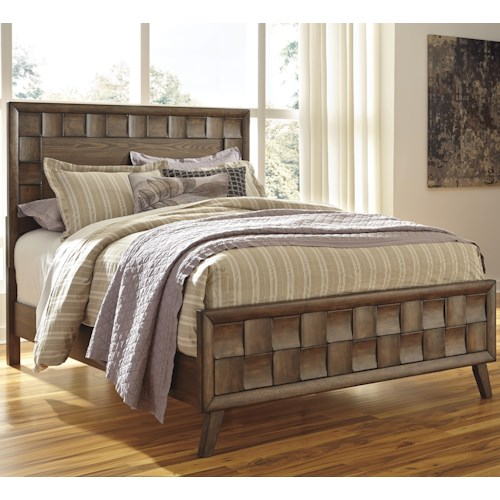 Signature Design by Ashley Debeaux King Wood Panel Bed with White Oak Veneers