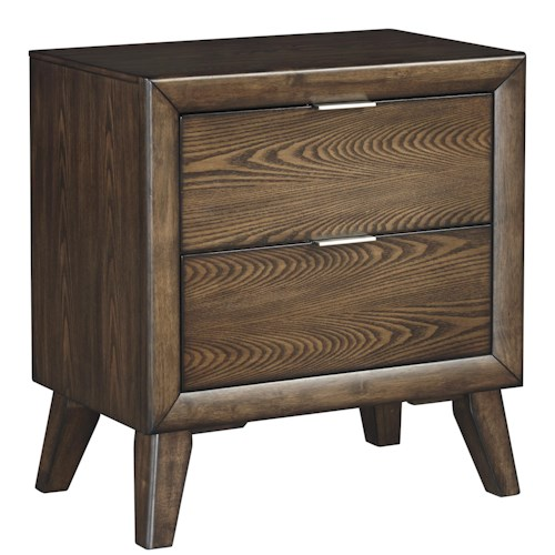 Signature Design by Ashley Debeaux Two Drawer Night Stand with White Oak Veneers