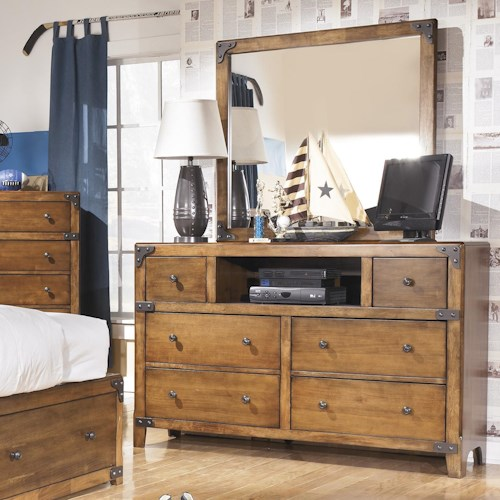 Signature Design by Ashley Delburne Dresser with Open Compartment & Mirror in Rustic Pine