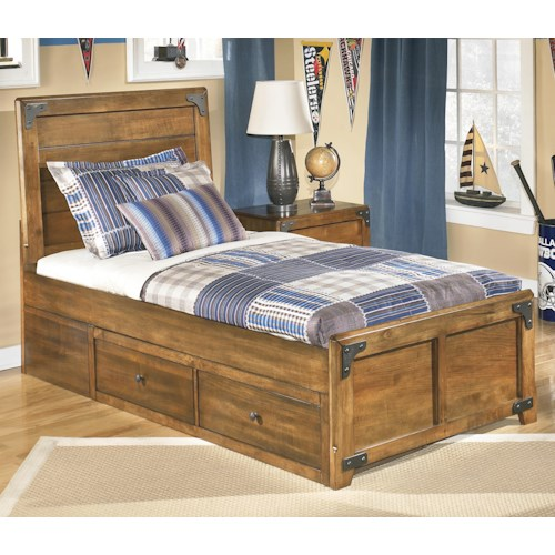 Signature Design by Ashley Delburne Twin Platform Pedestal Bed with Storage