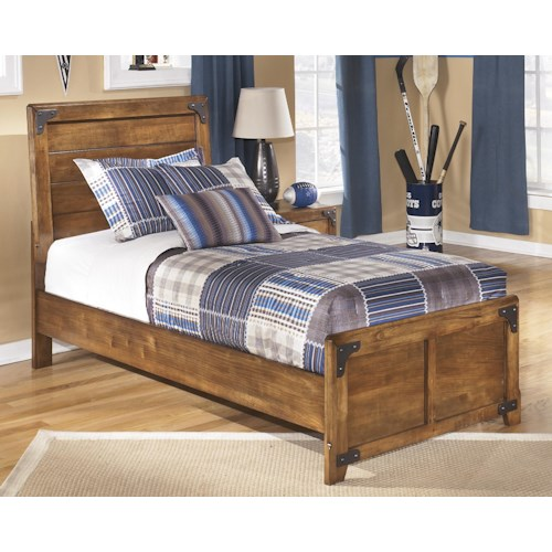 ashley signature design delburne twin panel bed in rustic pine