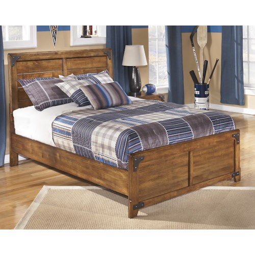Signature Design by Ashley Cole Full Panel Bed in Rustic Pine