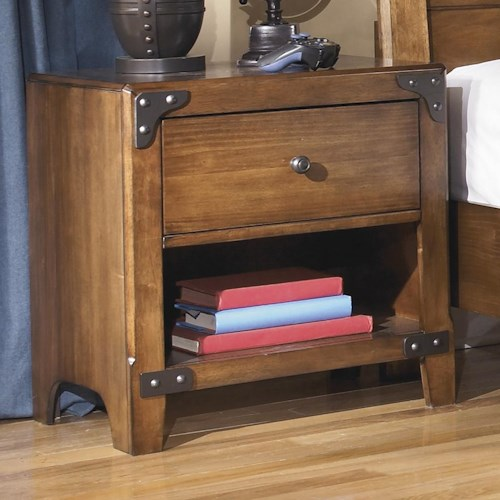 Signature Design by Ashley Delburne One Drawer Night Stand with Shelf in Rustic Pine