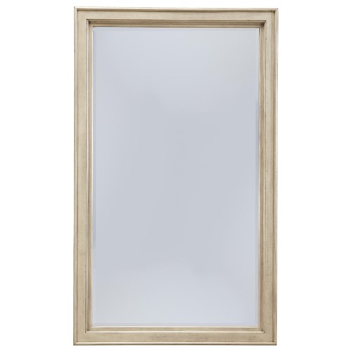 Signature Design by Ashley Demarlos Vintage Parchment White Finish Floor Standing Mirror