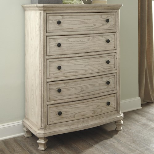 Signature Design by Ashley Demarlos Vintage Parchment White Finish Chest with 5 Drawers