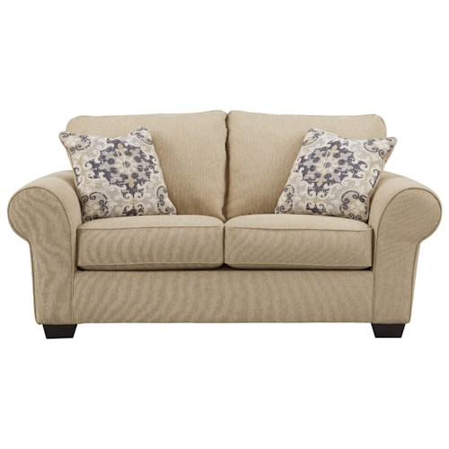 Signature Design By Ashley Denitasse Casual Loveseat With Rolled Arms Pilgrim Furniture City