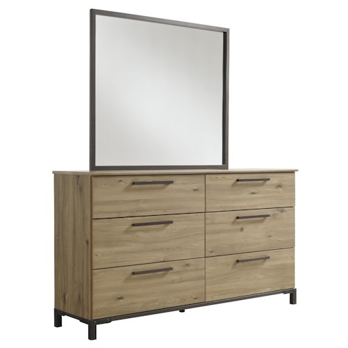 Signature Design by Ashley Dexifield Dresser & Faux Metal Bedroom Mirror