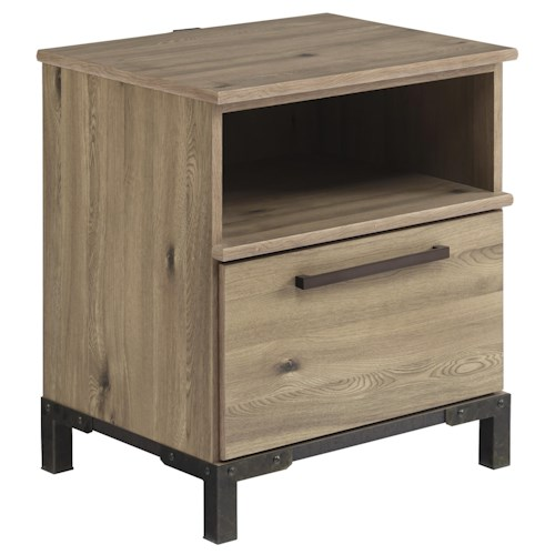 Signature Design by Ashley Dexifield One Drawer Night Stand with USB Charger & Shelf