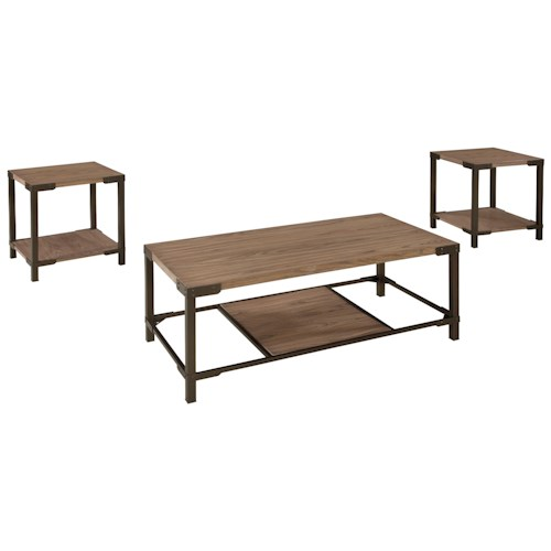 Signature Design by Ashley Dexifield 3-Piece Occasional Table Set with Ash Table Tops & Industrial Style Bronze Color Metal Frames