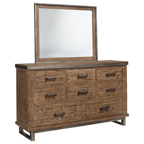 Signature Design by Ashley Dondie Modern Rustic Dresser & Bedroom Mirror