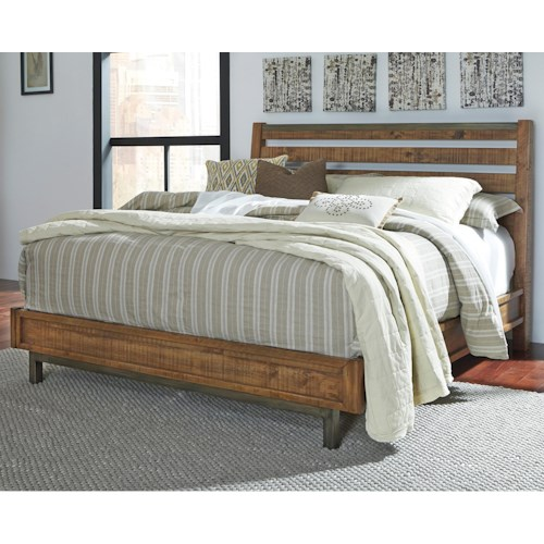 Signature Design by Ashley Dondie Modern Rustic Solid Wood King Bed with Sleigh Headboard
