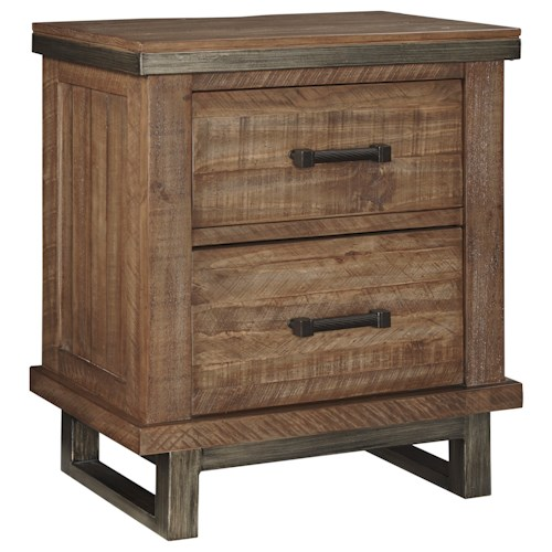 Signature Design by Ashley Dondie Modern Rustic Solid Wood Two Drawer Night Stand