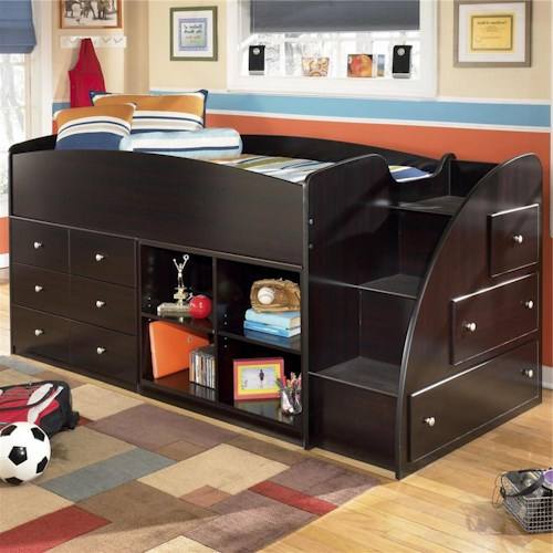 Signature Design by Ashley Embrace Twin Loft Bed with Right Storage Steps, Bookcase & Chest