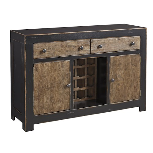 Signature Design by Ashley Emerfield Two-Tone Distressed Server with Wine Storage