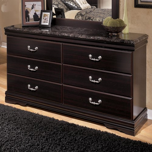 Signature Design by Ashley Esmarelda 6-Drawer Dresser with Faux Marble Top