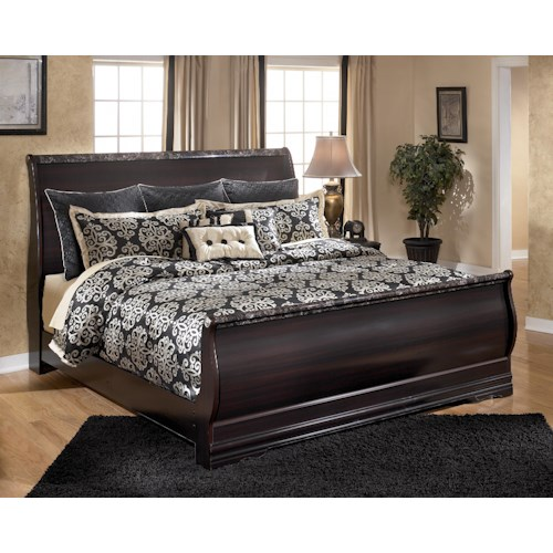Signature Design by Ashley Esmarelda King Sleigh Bed with Faux Marble Trim