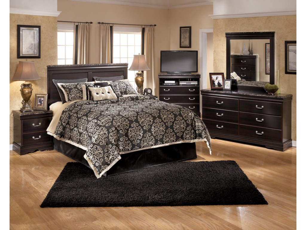 Shown with Panel Headboard, Media Chest, Dresser, and Mirror