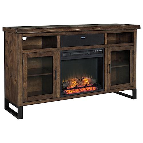 Signature Design by Ashley Esmarina Large TV Stand w/ Fireplace Insert, Bluetooth Speaker, & Faux Live Edge