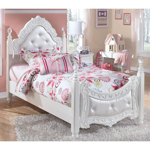 Signature Design by Ashley Exquisite Twin Ornate Poster Bed with Tufted Headboard & Footboard